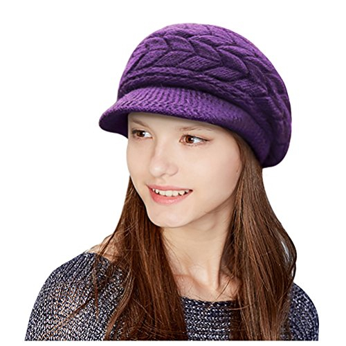 Stretch Beanie (Glamorstar Winter Knit Hat Stretch Warm Beanie Ski Cap with Visor for Women Girl Purple)