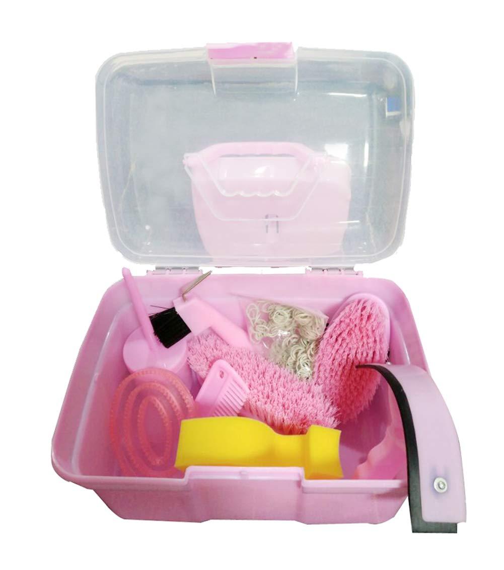 NRTFE Horse Grooming Box Set 9 Pieces Cleanning Tool Set Brushes Hoof Pick Horse Comb Sweat Scraper