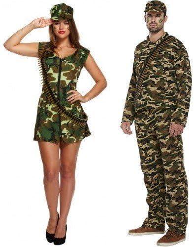 Para hombre de mujer y Army diseño de camuflaje Caqui diseño de soldado diseño de pareja Fancy maniquí cómodamente e instrucciones para hacer vestidos para disfraces de diseño militar de pareja de: