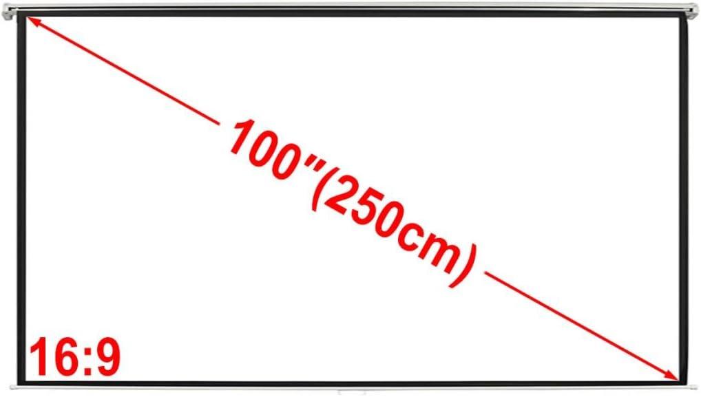 TALLA 200 x153 cm. vidaXL Pantalla de proyección Manual 200 x153 cm Blanco Opaco 4:3 Techo Pared
