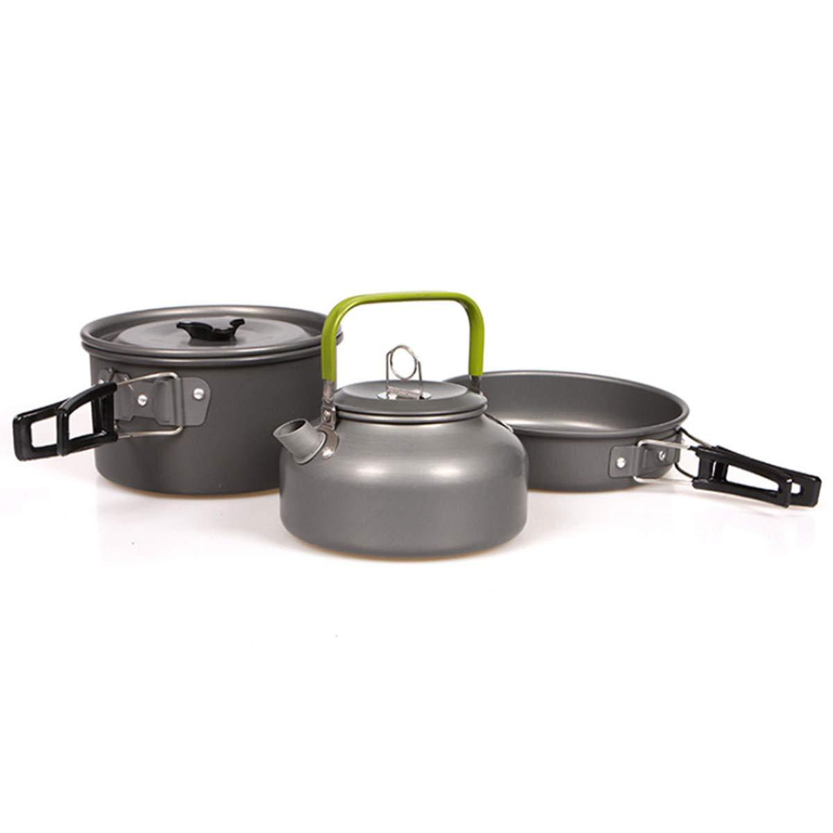 Portable Camping Cookware Set SENREAL Frying Pan Pot Water Kettle Picnic BBQ Cooking Tableware