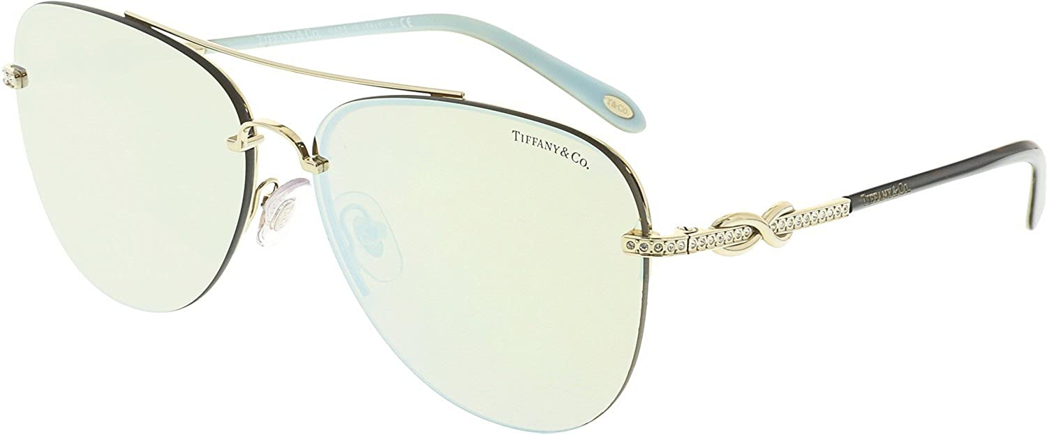 906858fcdcdf Amazon.com  Tiffany   Co TF3054B 602164 Sunglasses PALE GOLD w  BROWN  MIRROR WHITE Lens 59mm  Tiffany And Co.  Clothing