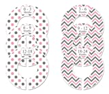 Closet Doodles C105 Pink Gray Polka Dot Chevron Girl Baby Clothing Dividers Set of 6 Fits 1.25inch Rod
