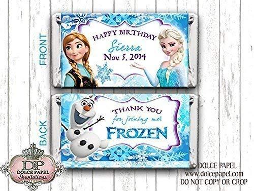 10 Frozen Inspired Elsa Anna Olaf Custom Birthday Mini Hershey Candy Bar Wrappers