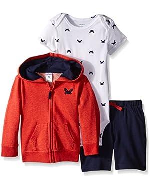 3-Piece Boys Hooded Cardigan Short Set