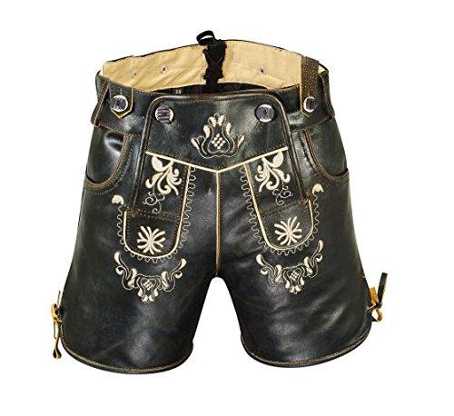 Hochwertige Damen Trachten-Lederhose aus feinem Rindsspalt mit Stickereien, Kurz, Schwarz, Gr.38