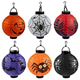 Gosear Halloween Decorations, Halloween Decor 6PCS Foldable Battery Operated Pumpkin Spider Bat Skeleton Castle LED Paper Lantern Lights Lamp for Halloween Holiday Party Decorations