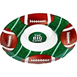 Amscan Football Frenzy Birthday Party Chip & Dip Plastic Tray (1 Piece), Green/Brown, 13.2 x 13.2""