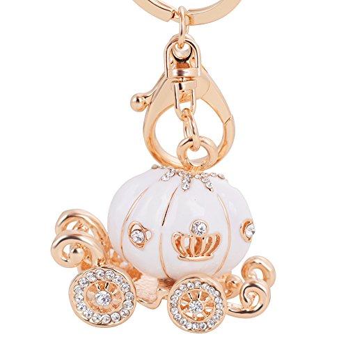Key Keychain Fashion Luxury Car Key Ring - Grade Resin Pumpkin Car Diamond Keychain(White Pumpkin ()