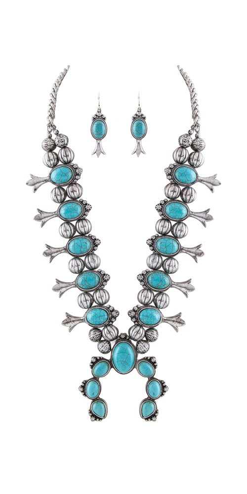 Jayde N' Grey Navajo Southwestern Squash Blossom Tribal Turquoise Necklace (Turquoise Silver Large)