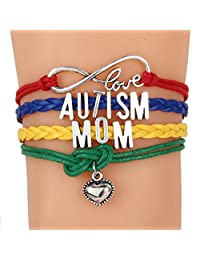 ALoveSoul Autism Awareness Bracelets Heart Charm Letter Love Wrap Wrist Adjustable Bracelet