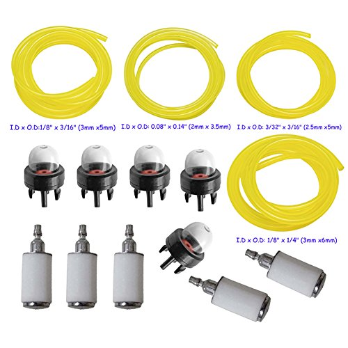 HIFROM 10pcs Snap in Primer Bulb Pump 188-512 188-512-1 with 530095646 Fuel Filter and 4 Different Size of Fuel Line for Homelite Ryobi Husqvarna Walbro Poulan