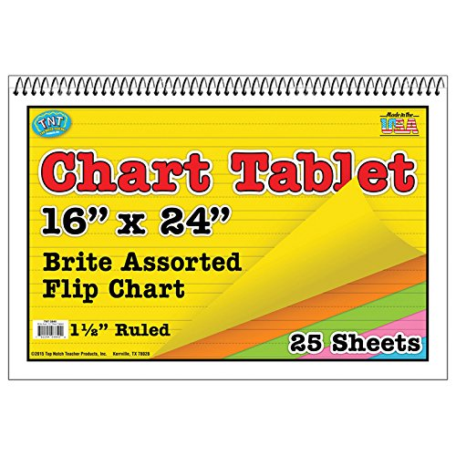 Top Notch Teacher TOP3840BN Chart Tablet 16X24, 1.5 Inch Ruled, MultiPk 3 Each by Top Notch Teacher