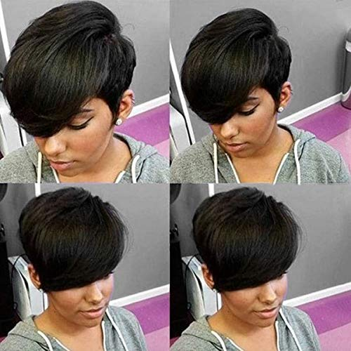 HOTKIS Short Pixie Human Hair Wigs Side Bangs Short Wig for Women Human Hair Short Wigs Glueless (Side Bangs Cut) (Short Hair For Women With Thick Hair)