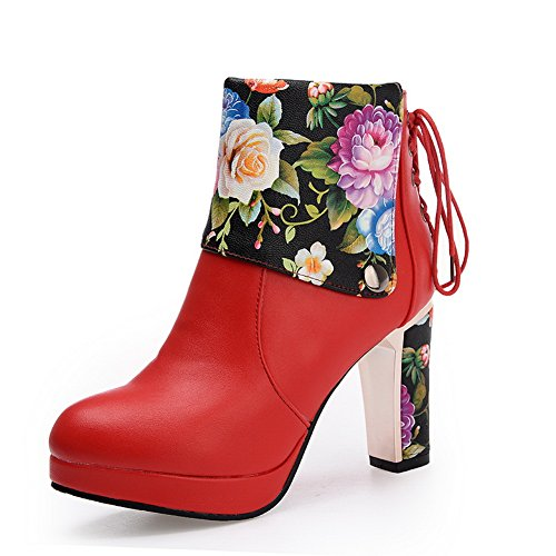 AdeeSu Womens Comfort Floral Slip-Resistant Pointed-Toe Chunky Heels Urethane Boots SXC01820 Red