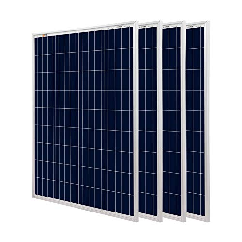 Richsolar 4 Pieces 100 Watt Polycrystalline 100W 12V Solar Panel High Efficiency Poly Module RV Marine Boat Off Grid (4pcs)