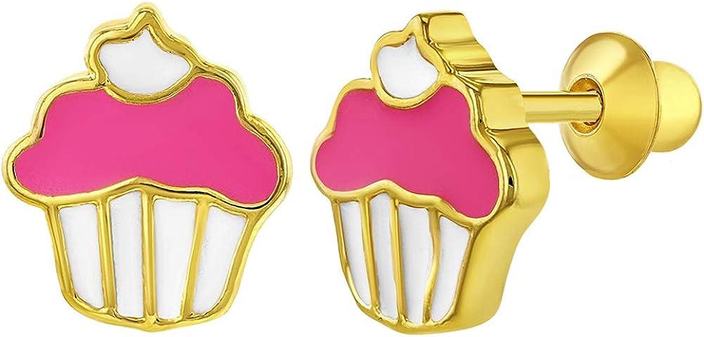 /Émail Rose Tiges poussettes s/écurit/é /à vis Cupcake Boucles d/'oreilles In Season Jewelry Plaqu/é or 18k Filles