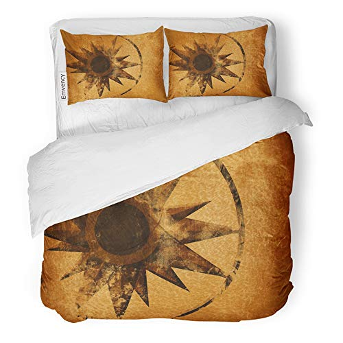 Emvency Decor Duvet Cover Set Twin Size Map Wind Rose on Old Maritime Treasure Compass Direction Atlas Boat Damaged 3 Piece Brushed Microfiber Fabric Print Bedding Set Cover
