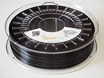 TreeFLX 3D Premium European PLA 3D Printer Filament, 750g Spool,-1.75mm- True Black Dimensional Accuracy +/- 0.03 mm