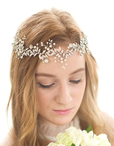 BABEYOND Crystal Wedding Headpiece Hair Vine Bridal Headband Bridesmaid Hairband Crystal Floral Leaf Forehead Band with Lace Ribbon Silver