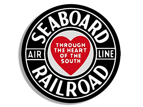 Round SEABOARD Railroad Sticker (airline heart south rail train (Airline Railroad)