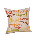 Fall Decor Cotton Linen Pillow Covers, Pumpkin and Letters Home Decorative Throw Pillow Case Cushion Cover for Sofa G 18