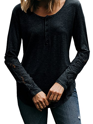 Beautife Womens Lace Long Crochet Sleeve Henley Shirt Tunic Tops Casual T Shirt (Tunic Crochet Top)