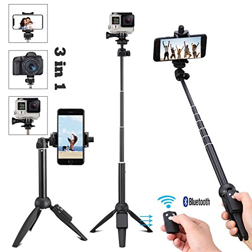 Easy to Carry Adjustable Handheld Monopod 11-40 Selfie Stick with Bluetooth Remote for Smartphones with Universal Phone Holder up to 3.25 Inch in Width Light Compact
