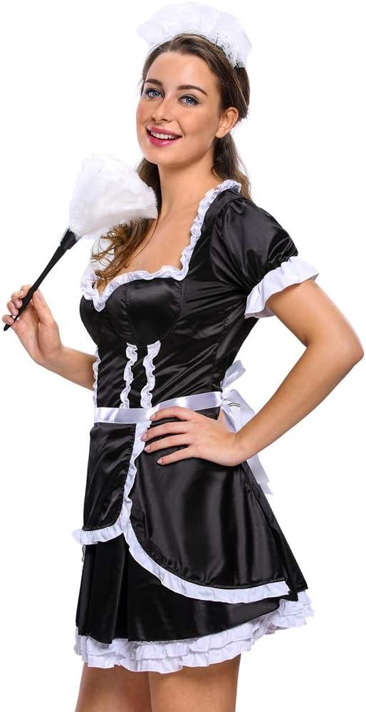 WXNLEAI Halloween sexy beauty mujer sirvienta tres piezas cabeza ...