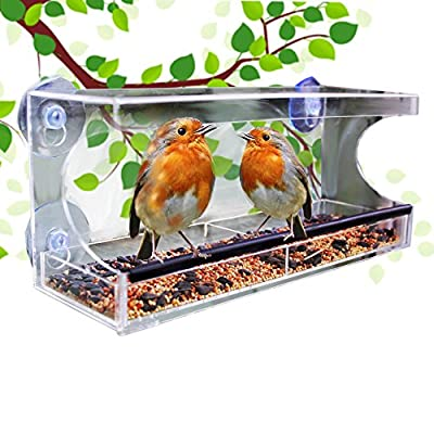 Large Window Bird Feeder With Clear Removable Self Draining Bird Feed Tray