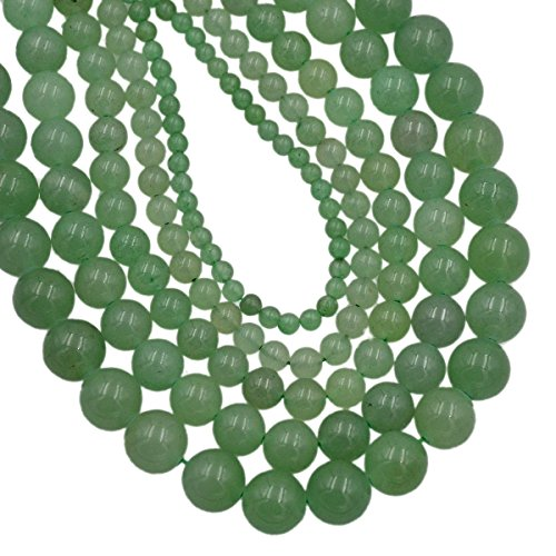 "AD Beads Smooth Natural Gemstone Round Loose Beads 15"" 4mm 6mm 8mm 10mm (8mm, Green Aventurine)"
