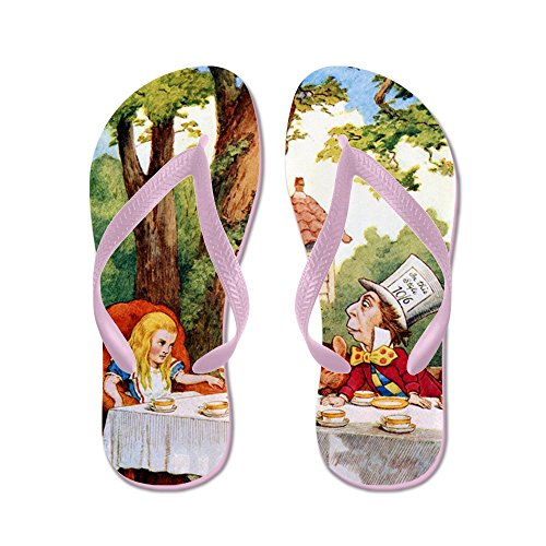 Cafepress Mad Hatters Tea Party - Chanclas, Sandalias Thong Divertidas, Sandalias De Playa Rosa