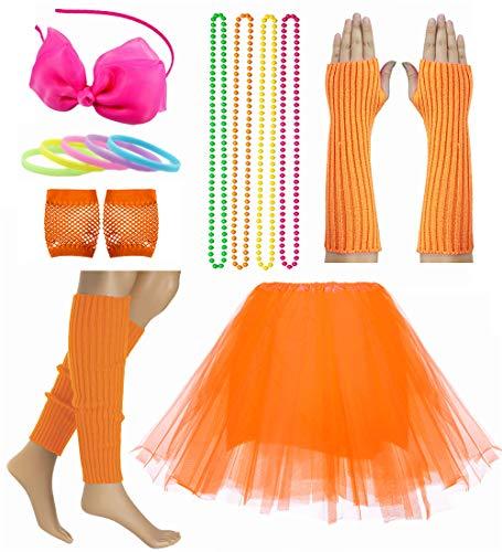 Child Girl 80's Accessories Set Tutu Skirt with Neon Bracelet Necklace Set (Orange) -