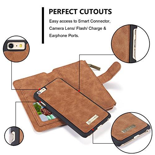 Roreikes Multi-function Wallet Case Hülle 2 in 1 Detachable Leather hülle Tasche Schutzhülle Etui Flip Wallet Stand Cover mit Kartenfächer für Apple iPhone 6 Plus / 6S Plus (5,5 Zoll) - Braun