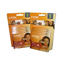 TDK MINI DVD-R 30 MIN 10 PACK FOR CAMCORDERS