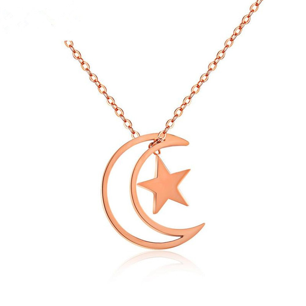 Hollow Moon Star Charm Pendant Delicate Filigree Necklace Jewelry for Women Girls for Engagement Birthday Anniversary Gift Comfybuy CF Stainless Steel 14K Rose Gold Plated AAA