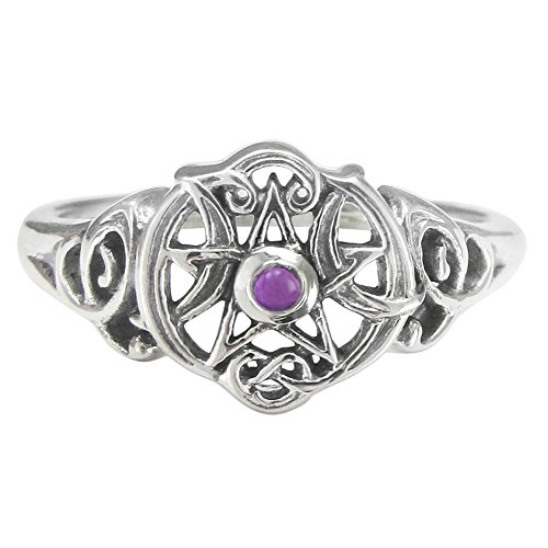 t Pentacle Ring with Natural Amethyst Size 8 (Heart Design Ring)