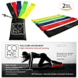Core Movement Resistance Loop Exercise Bands, Set of 5 with Carry Bag and Free H.I.I.T training EBook, Great for Losing weight, Muscle toning, Physical Therapy, Yoga and Stretching
