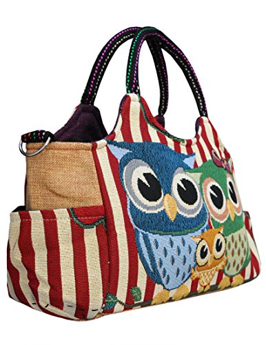 Eule Eulen Tasche Handtasche Henkeltasche ***EULENTRIO*** Shoppertasche Schultertasche Eulenmotiv Umhängetasche - VINTAGE LOOK / absolut cool und stylish ROT-WEIß