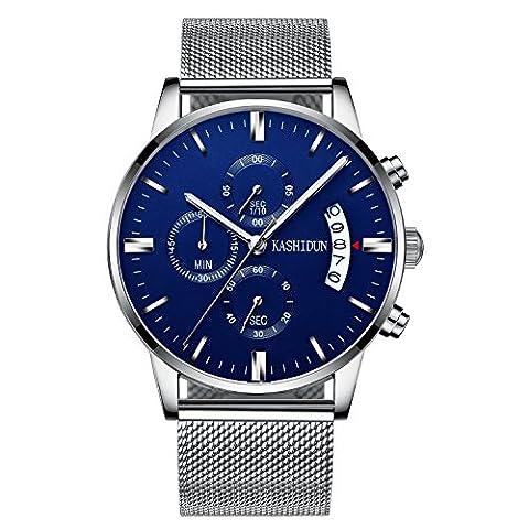 KASHIDUN Men's Watch Casual Quartz Waterproof Luminous Chronograph Mesh Alloy Bracelet-Navy - Navy Water Resistant Bracelet
