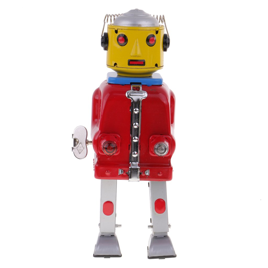 Jili Online VINTAGE RETRO MR.ROBOT TIN TOY CLOCKWORK WIND-UP TOYS LIGHTS GO ON AND OFF