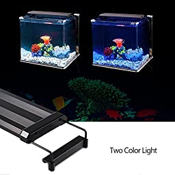 NOSIVA LED Aquarium Light (21-27 In), LED Aquarium Hood Fish Tank Light with Extendable Brackets (White and Blue LEDS)