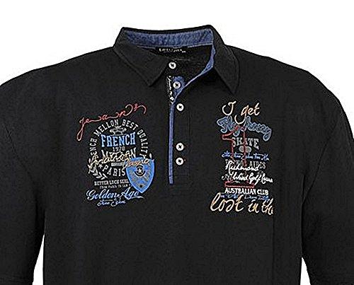 Übergrössen !!! WOW !!! Hippes Polo-Shirt Kurzarm LAVECCHIA Schwarz 6XL