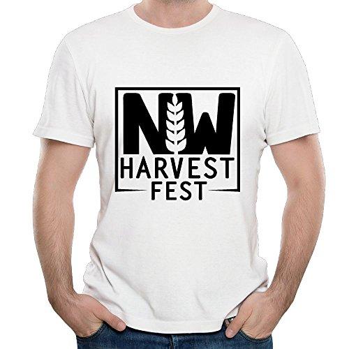 ZHIJIANSHIGONG Men's Harvest Fest Fashion Sports White T Shirt L Short Sleeve ()