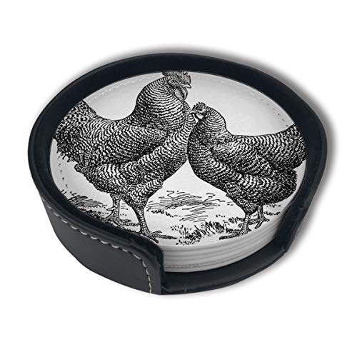 - PDUOW Old Design Rooster Hen Barred Ply Mouth Rocks Coasters for Drinks,PU Leather Coasters with Holder,Protect Furniture from Damage(6PCS)