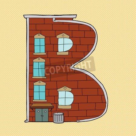 Hand Drawn dibujos animados Letter B Icon over Naranja (30688042 ...