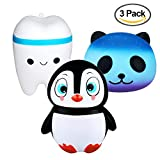 sesame street talking big bird - Enjoyee 3PCS Kawaii Jumbo Slow Rising Squishies-Starry Panda+Penguin+Tooth Stress Relief Squeeze Toys, For Kids and Adults