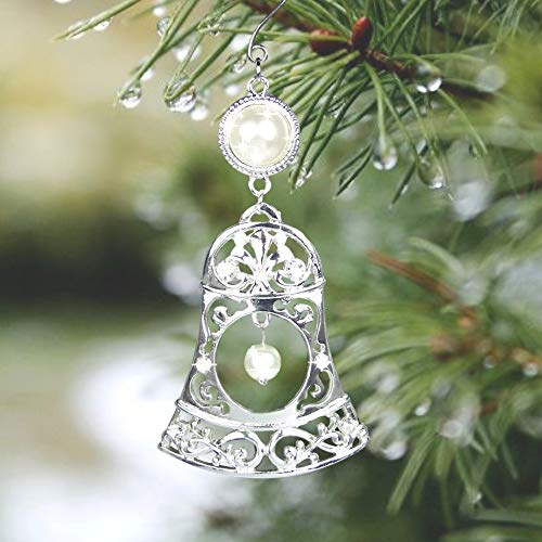 BANBERRY DESIGNS Silver Bells Christmas Ornament - Silver Filigree Design with Pearls and Crystals with Decorative Scroll - Pearl Design Scroll
