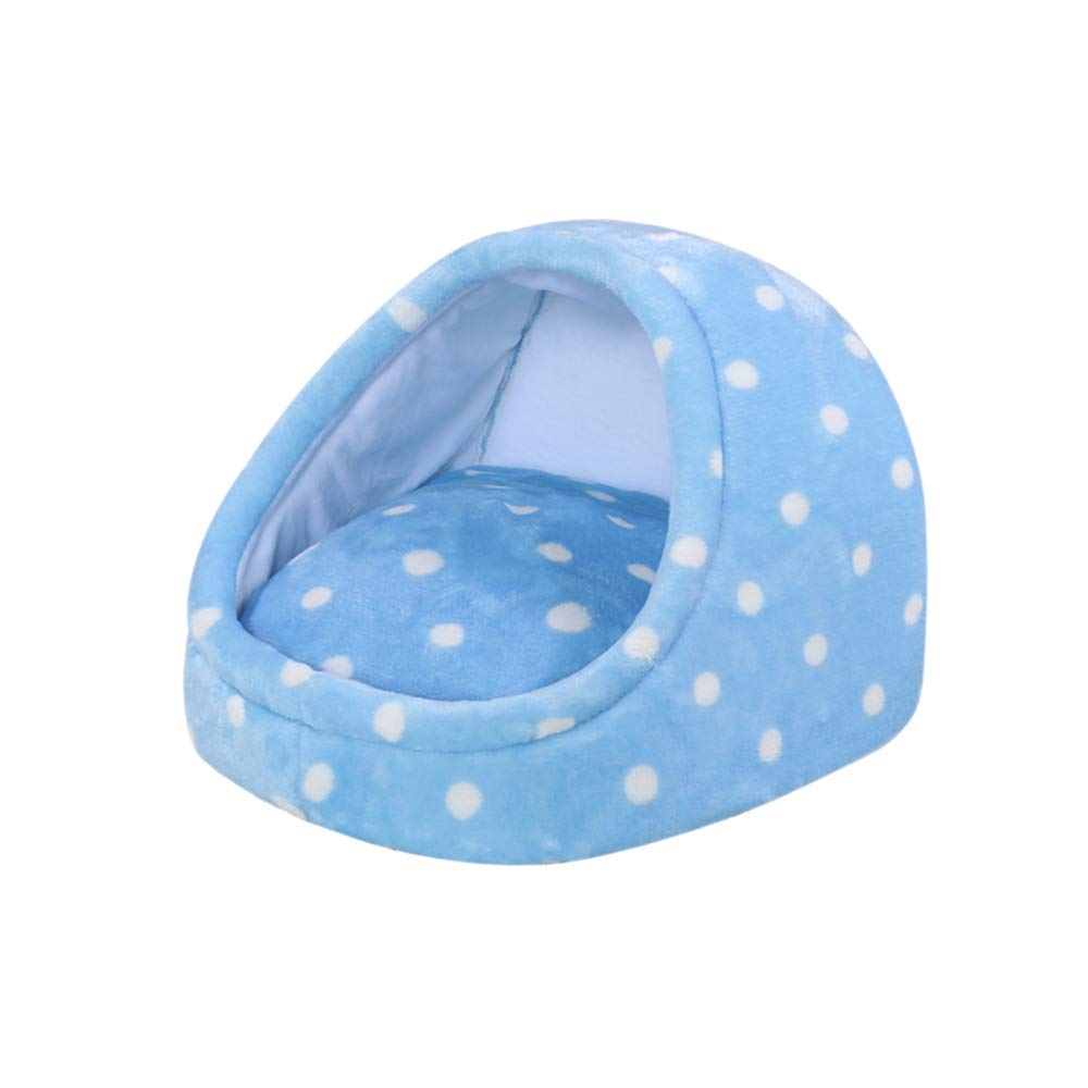 bluee MediumYQQ Cat Nest Kennel Pet Bed Cat Bed Semienclosed Pet Sofa Washable PP Cotton (color   PINK, Size   M)