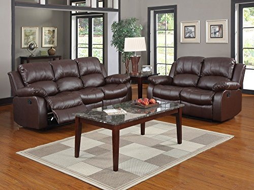 """Homelegance Resonance 83"""" Bonded Leather Double Reclining Sofa, Brown"""